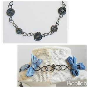 """Rugged Femininity"" Necklace in Mystic Blue111"